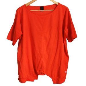 Orange Lagenlook Style Oversized T-Shirt, size S